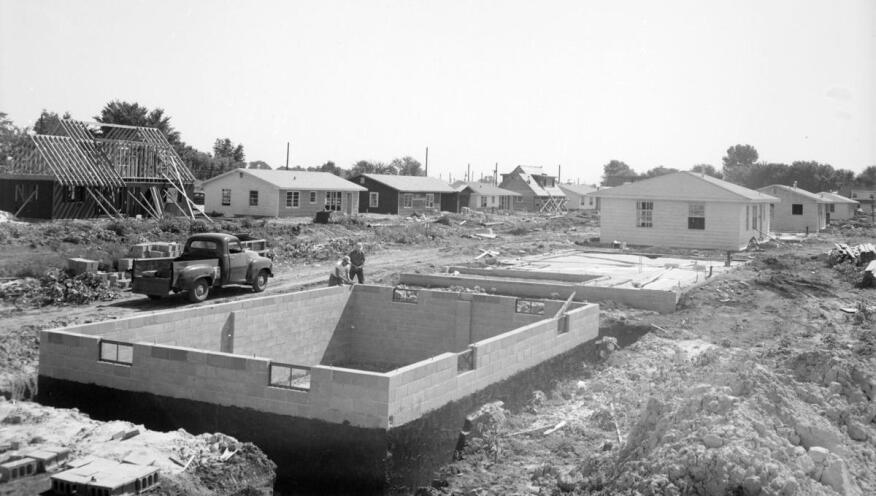 McLean County Museum of History photo of work on Meadowbrook in the summer of 1954.