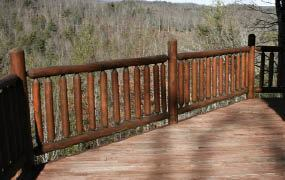 Figure 8. White cedar log railings are available through log-home distributors.
