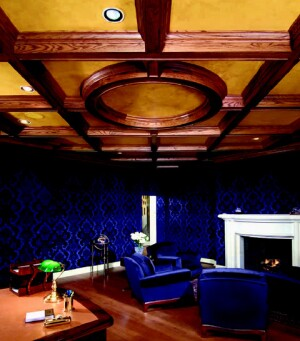 Foxcraft Design Group created an oak coffered ceiling to make this imposing room feel more inviting.