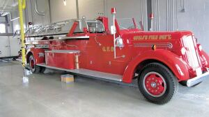 The beautiful floor not only meets sustainability standards, butit also anchors the city's antique fire engine.