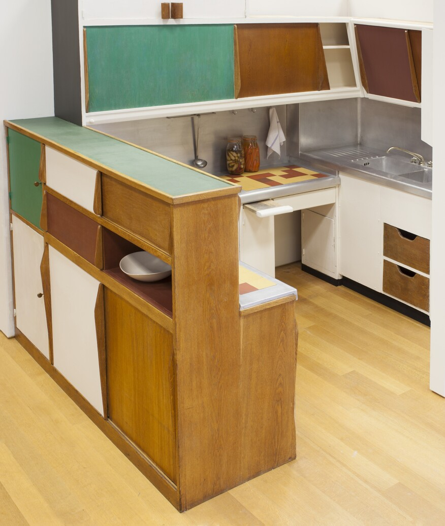 Charlotte Perriand and Le Corbusier's kitchen from the Unité d'Habitation, in Marseille, France, designed in 1952.