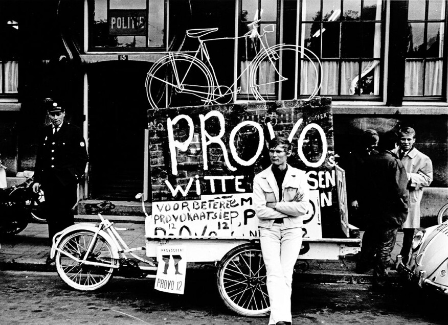 An image from the Provos' White Bicycle Program