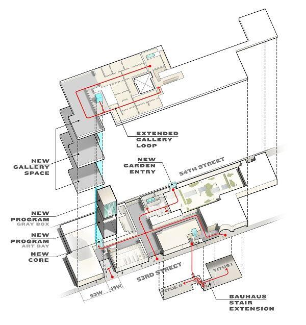 Concept design for MoMA. Axonometric plan.