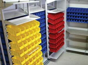 Frame WRX modular storage system  Spacesaver  www.spacesaver.com  Multiple configurations    Shelves, pegs, work surfaces, and EX Rail technology can be rearranged without tools or fasteners    Available in standard and custom colors    Accommodates standard slat-wall system accessories