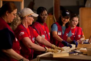 Beyond The Basics. As part of its sponsorship of Habitat for Humanity's National Women Build Week, Lowe's Cos. conducted a series of clinics in its home centers and Habitat's ReStores around the country, teaching female volunteers such construction skills as how to frame walls, lay roofing, and paint.