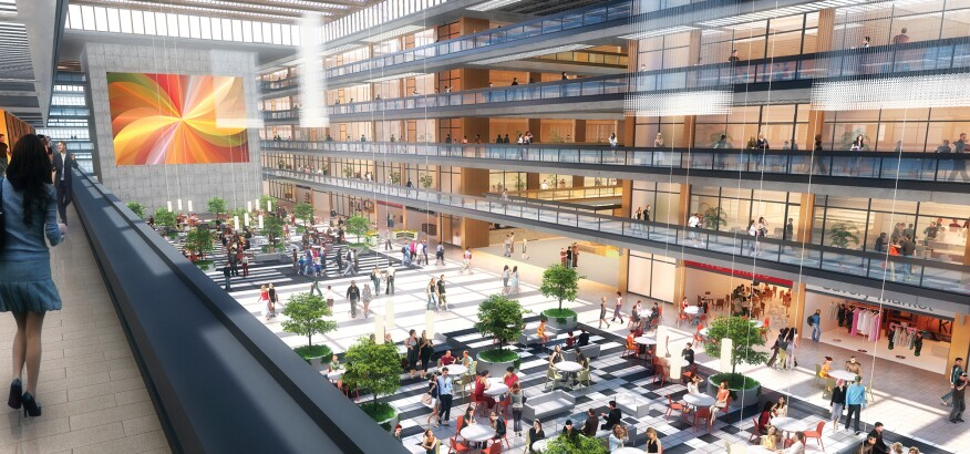 Rendering of renovated building at full occupancy
