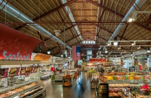 The design team blended old and new elements to create a grocery store with a modern industrial vibe that nodded to the market's historical roots.