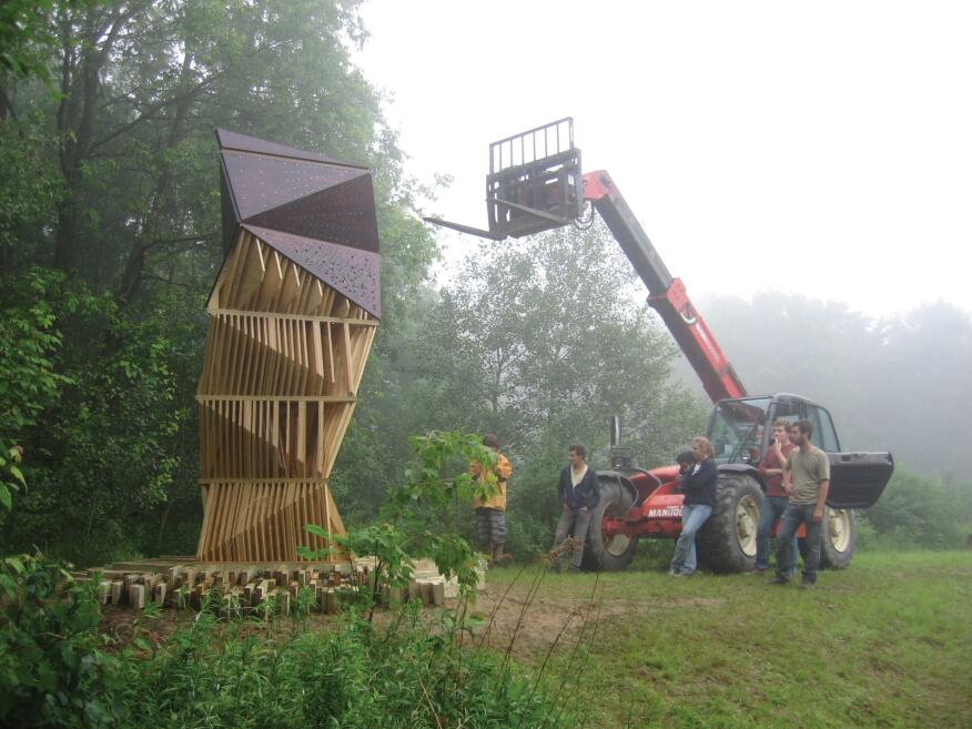 Joyce Hwang's firm, Ants of the Prairie, in Buffalo, N.Y. designed Bat Tower, which provides a sculptural, yet safe, home for bats in Griffis Sculpture Park in East Otto, N.Y.