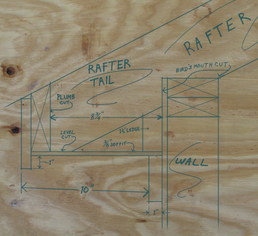 To help measure and visualize the eaves components, a full-size drawing is done. This drawing provides dimensions and distances for all of the parts. The rafter jig seen in the next photo helps with the layout.