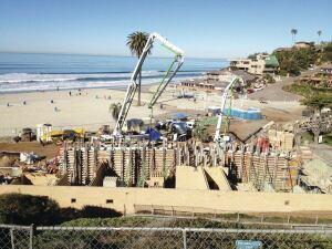 Moonlight Beach in Encinitas, Calif., is a vertical application of Lithocrete sedimentary walls.