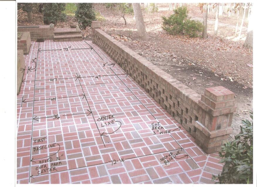 Here's a photo of the installed brick patio, with the layout lines superimposed on the photo. Note how the pattern is centered along both the length and width of the patio.