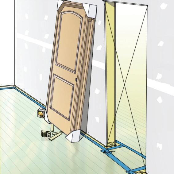 Cross-Stringing for Flatness: Run strings across each diagonal of the door opening. If the strings don't touch, the opening is not flat. Find out which of the door jacks is out of plumb (could be both). Cut the nails holding the plate to the deck and whack the framing around as needed. Then re-nail.