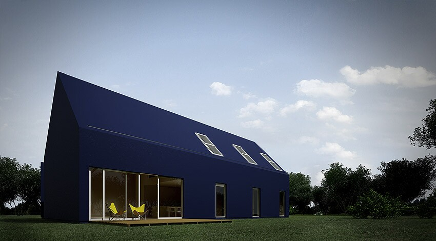 L House in Łódź, Poland, designed by Moomoo Architects