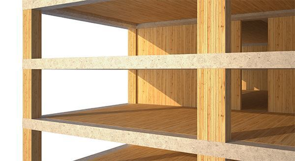 For its prototypical tower, SOM proposes a concrete jointed timber frame structural system. Solid, 8-inch-thick mass timber floor panels span between the timber shear walls at the building core and the perimeter columns. The wood primary structural members are connected with steel reinforcing through the concrete joints, such as the spandrel beams.