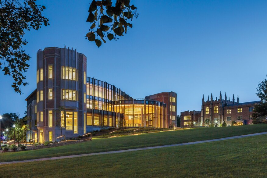Hillman Hall, the new home of the George Warren Brown School of Social Work at Washington University in St. Louis, overlooks a pedestrian thoroughfare and is designed in the university's Collegiate Gothic–style vernacular.