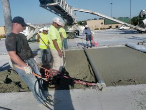 The pervious concrete was placed using conveyors and roller screeds.