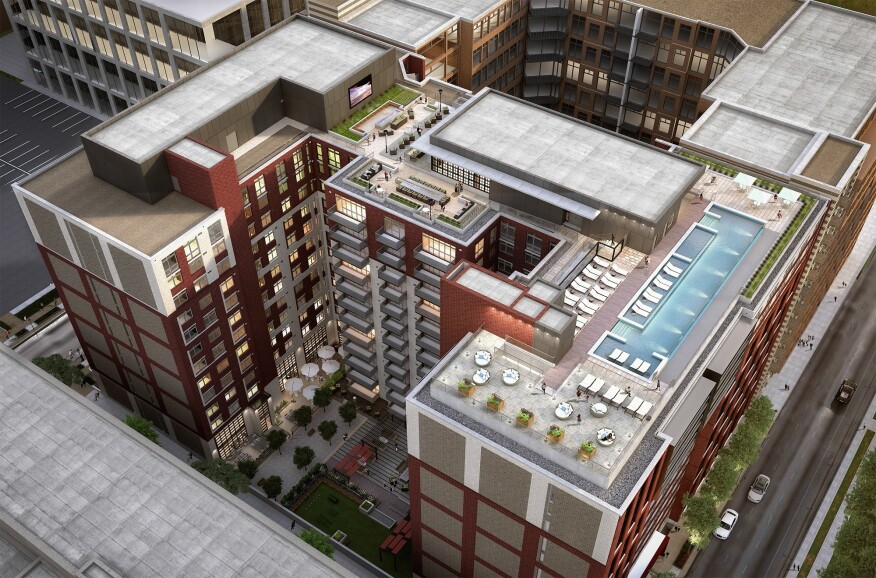 KTGY's AVA at NoMa in Washington, D.C., has numerous rooftop amenities such as a pool, grilling areas, and lounges.