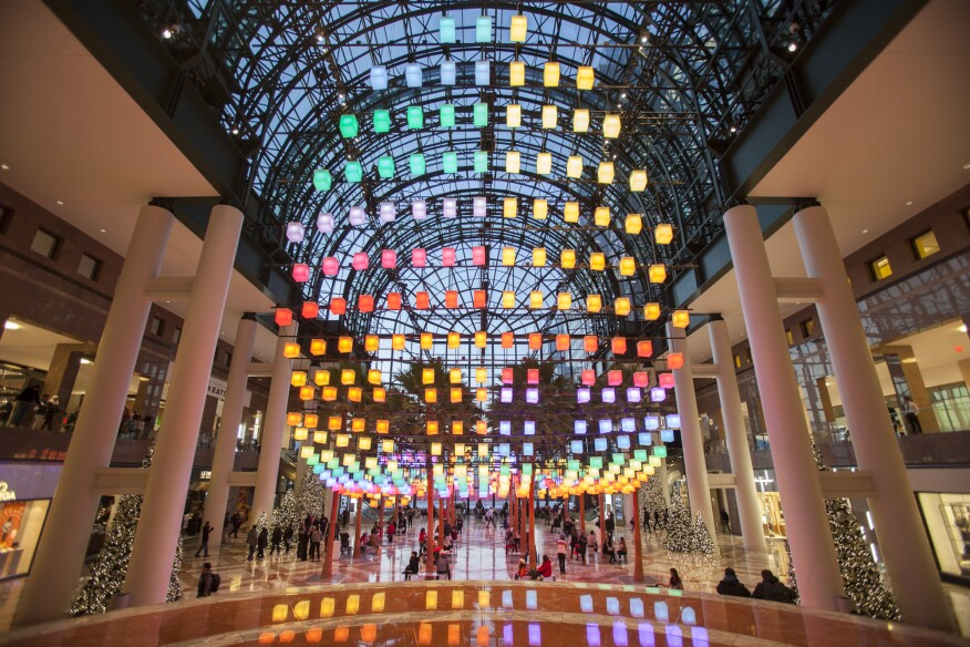 The new holiday lighting display Luminaries on view at Brookfield Place in Lower Manhattan's Battery Park City.