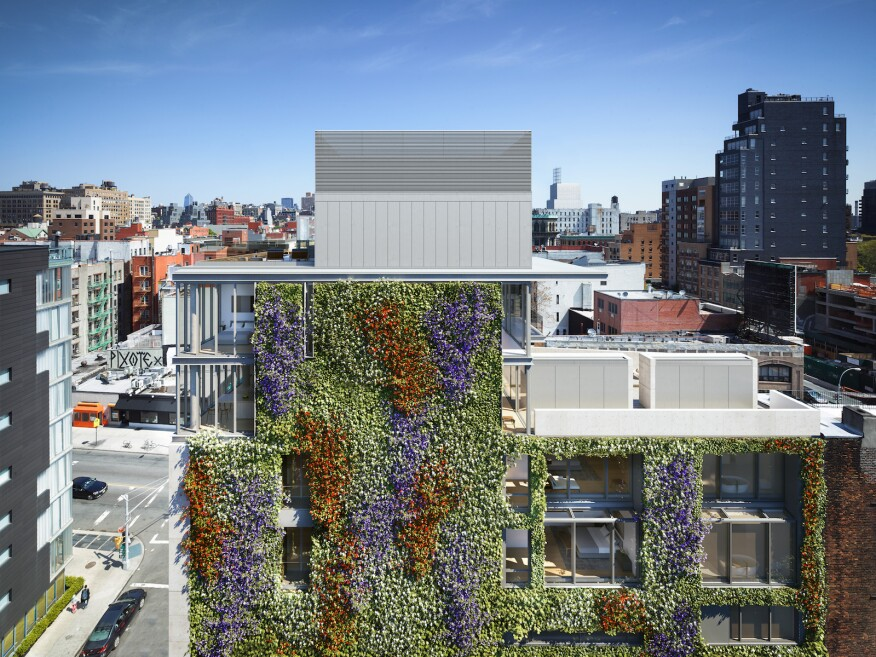 The vines used for the green wall will change color with the seasons.