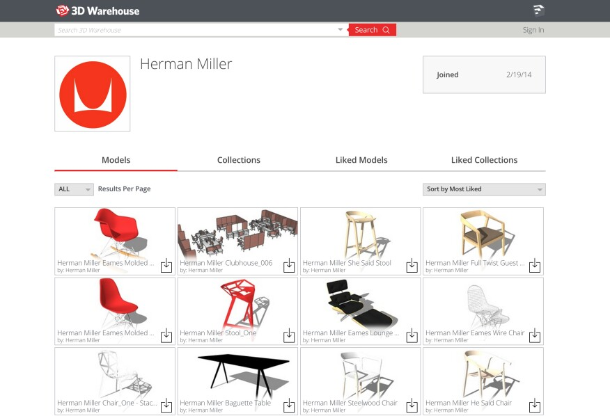 3D Warehouse Herman Miller collection