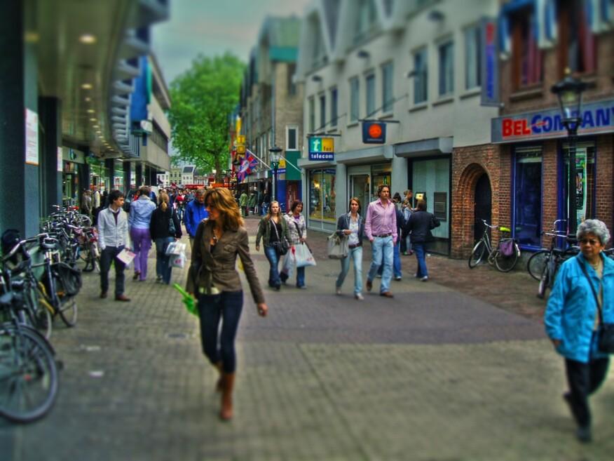 A shopping street in Utrecht, Netherlands.
