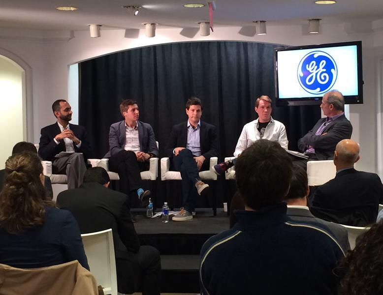 From left to right, panelists in the final session, which focused on new models for product development and distribution: Sree Ramaswamy, senior fellow, McKinsey Global Institute; Hardi Meybaum, CEO, GrabCAD; Justin Fishkin, chief strategy officer, Local Motors; Scott Case, co-founder and CEO, Main Street Genome; moderator Neil King, global economics editor, Wall Street Journal.
