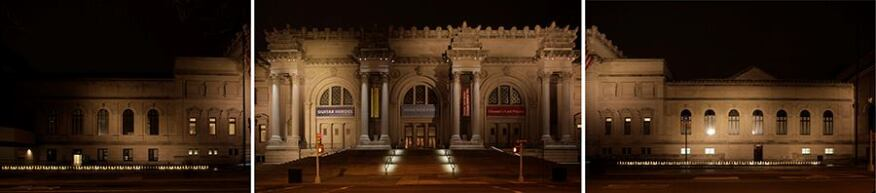 A view of the facade and plaza lighting before the renovation. Pole-mounted floodlights on the opposite side of 5th Avenue overwhelmed the architecture.