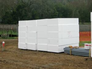 While geofoam is approximately 1 to 2 percent of  the weight of soil and 10 percent the weight of water, its  compressive strength makes it suitable for many structural  applications. It can be made in many shapes and sizes, but comes  standard in 4-by-8-foot blocks.