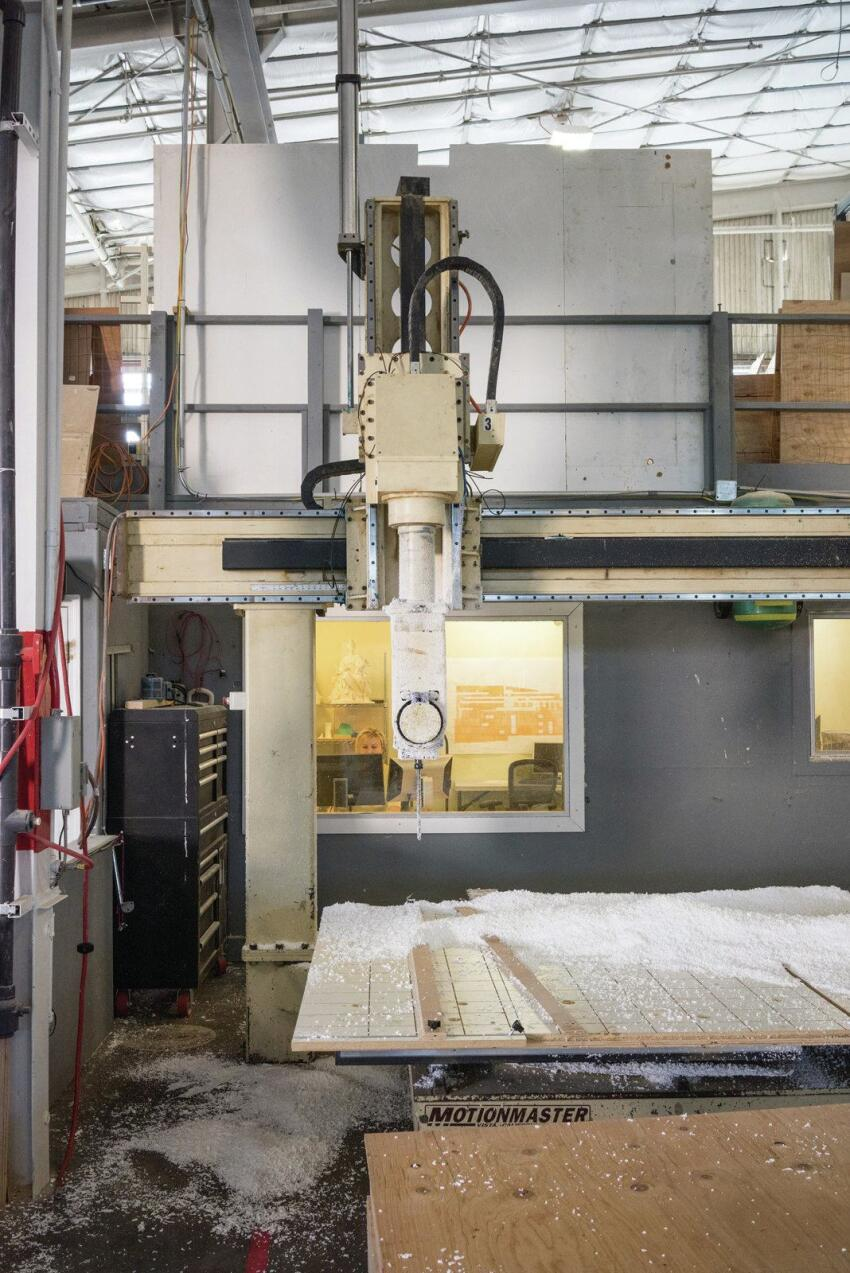 A 5-axis CNC router helps create the panels' profile.
