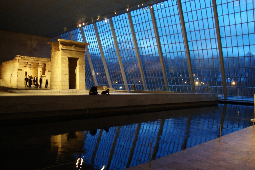 The Temple of Dendur and reflecting pool at the Metropolitan Museum of Art in New York.