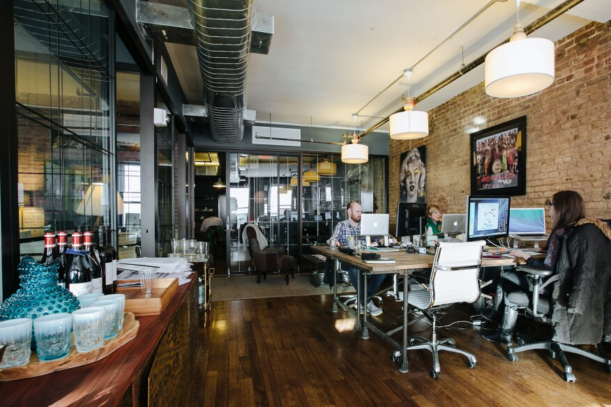 WeWork's dedicated desk spaces at its location in the Meatpacking District, New York (also not the beta floor in question, but similar in look).