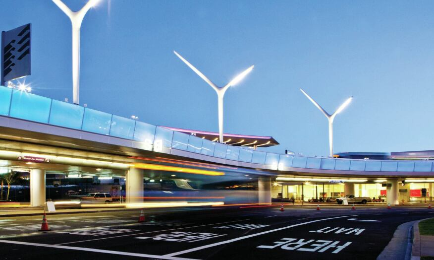 "The light poles draw their form from the shape of propellers and illuminate the upper and lower roadways around LAX in a ""celebratory procession."""