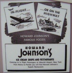 A historical Howard Johnson's restaurant advertisement displayed at the National Air and Space Museum in Washington, D.C., c. 1950.