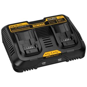 Charger for 12V and 20V MAX batteries with dual USB ports
