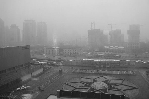 Beijing smog as seen from the China World Hotel, March 2003