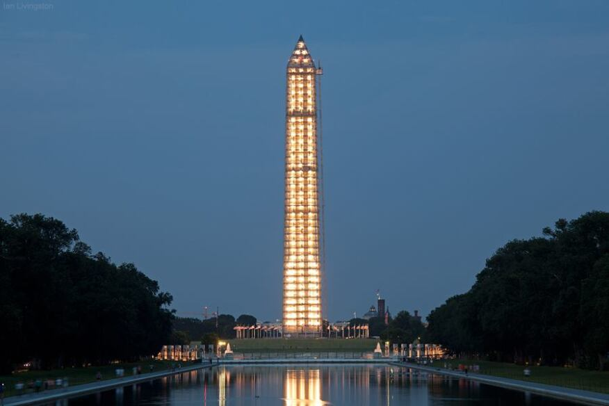 The lighted scrim on the Washington Monument.