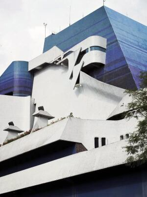 The west facade of the Miguel Ángel Asturias Cultural Center Complex in Guatemala City, designed in 1978 by Efraín Recinos.