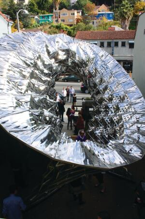 "Flexible Skin The ""Bloom"" installation near Los Angeles demonstrates how thermo bimetals could respond to heat to shade or ventilate a building."