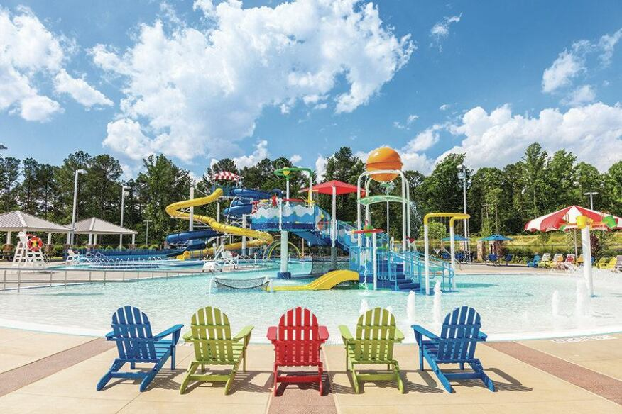The 18,000-square-foot outdoor space includes a leisure pool with lazy river, two water slides for different age groups, water sprays and a zero-entry wading pool. The venue was created to support learn-to-swim programs, aquatic therapy sessions and aquatic exercise, as well as competitive and recreational swimming by high schools and swim clubs. Outdoor lockers and Wi-Fi add convenience. Early on, the designers worked closely with the county to set specific programming goals,  to save the time and money needed for change orders and re-evaluations during construction.
