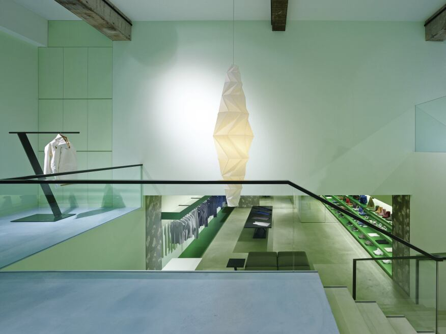 The multilevel Reality Lab in Tokyo, seen from its stairwell, is principal Tokujin Yoshioka's 17th collaboration with clothier Issey Miyake. His studio, which was established in 2000, has also designed retail spaces for Swarovski and Camper.