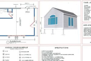 In addition to creating a drawing and spec sheet, such as the one shown above, for small, medium, and large versions of each project type, the author also creates a complete estimate, including all quantities. Complex projects can be estimated by combining templates—for example, combining templates for a kitchen addition, a powder room, and a laundry.