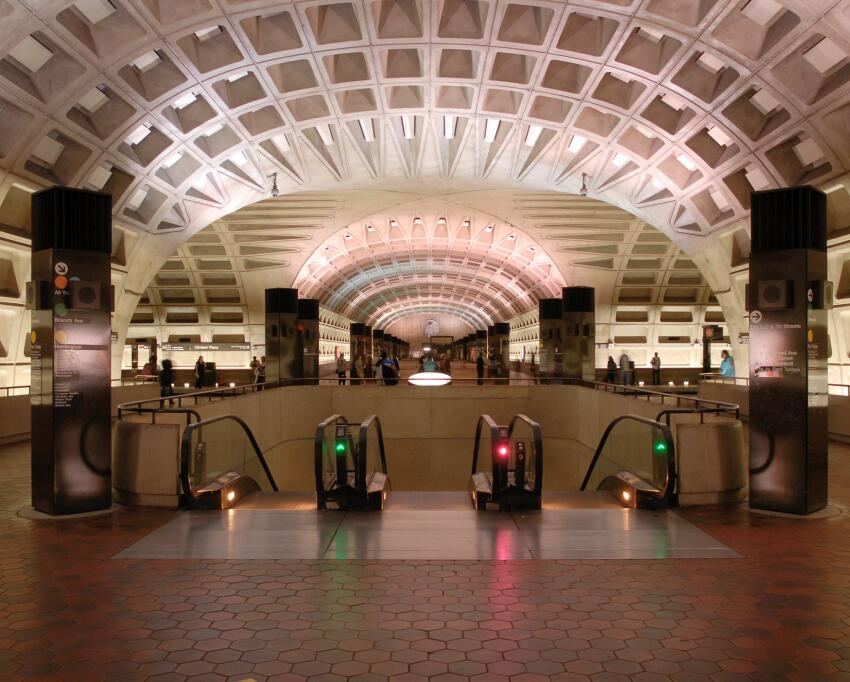 L'Enfant Plaza station, the last station in the District of Columbia before entering Virginia, was completed in 1977.
