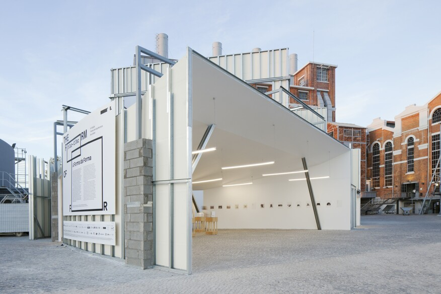 """""""Form of Form,"""" a pavilion included in the Lisbon Triennial that's staged in the power station's courtyard"""