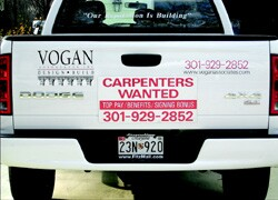 Vogan Associates' truck signs and the offer of a signing bonus attract the attention of potential employees.
