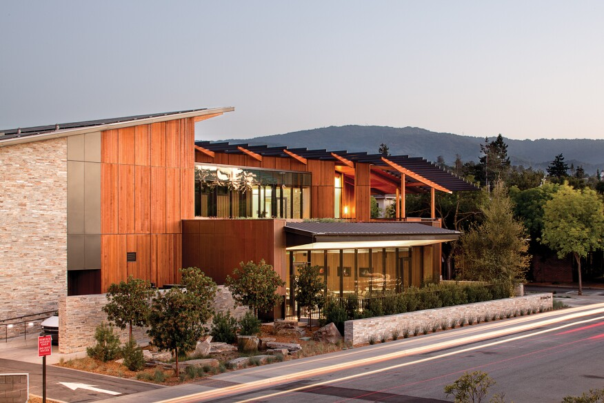 The net-zero energy David and Lucile Packard Foundation Headquarters, in Los Altos, Calif., by EHDD
