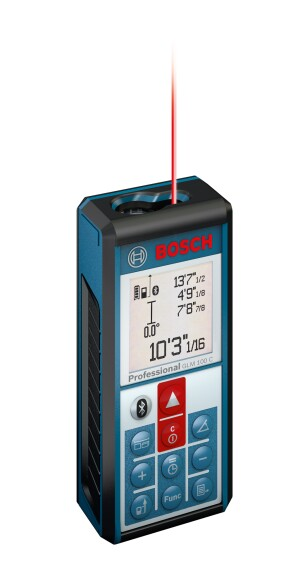 The Bosch GLM 100 C Laser Measure with Bluetooth® Wireless Technology has a dedicated Bluetooth button and an onscreen icon that activates when Bluetooth is operating.
