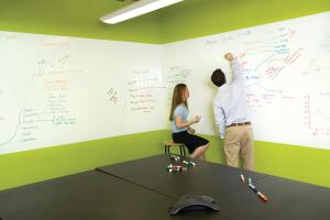 IdeaPaint  IdeaPaint  ideapaint.com  Single-coat, roller-applied paint that transforms any smooth surface (including drywall, plaster, chalkboards, wood, and laminates) into a dry-erase writing surface - Works with every brand of dry-erase markers - Low cost - Produces no seams - Will not stain and dirty over time - Erases easily - Formaldehyde free - Cures in seven days