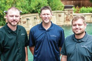 Management team: Klapprodt Pools, a builder in the Dallas-Fort Worth metroplex, is run by   Josh Klapprodt, Chad Poynter and Jeremy Klapprodt (L-R).
