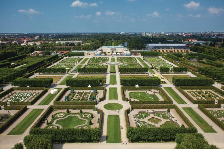 The schloss straddles the central axis of Martin Charbonnier's parterre-filled Baroque garden.