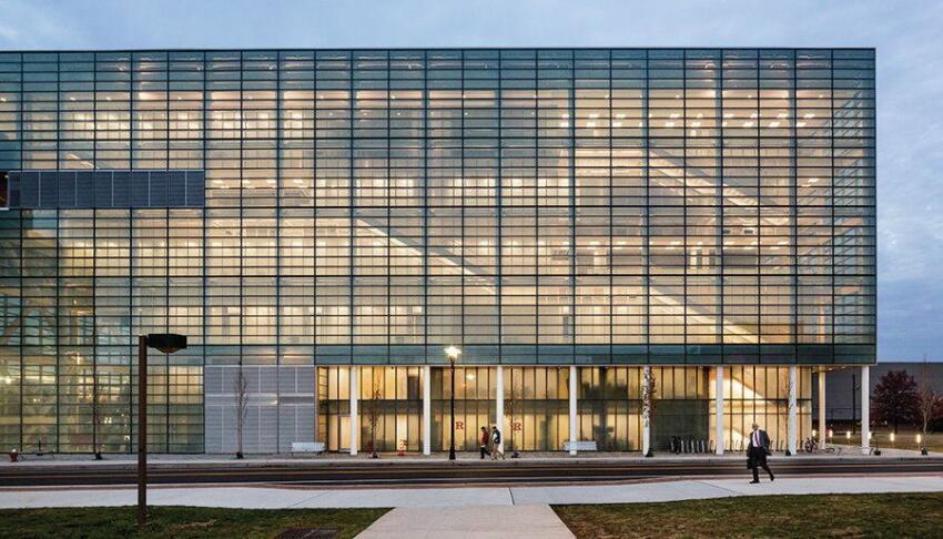 Rutgers Business School, east façade.